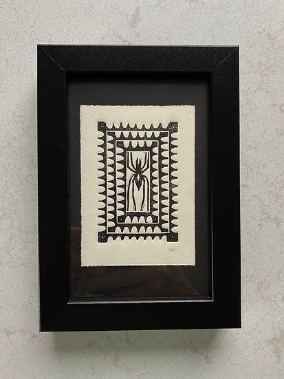 Spider Woodcut Print in Frame