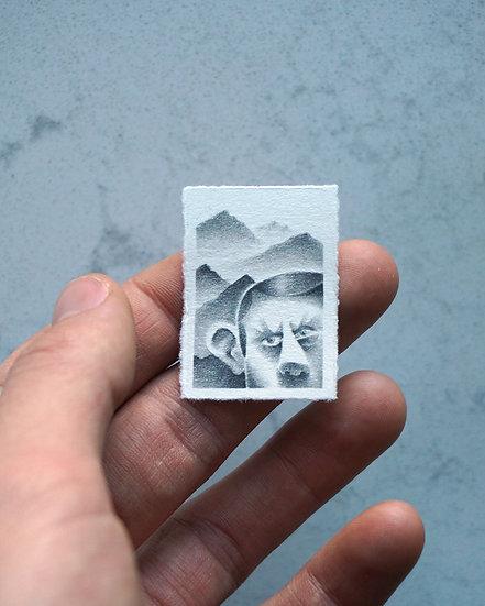 """Mountain Man"" Miniature Drawing"
