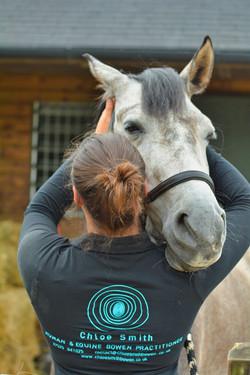 Chloe hugs her horse