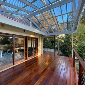 Merbau Decking with Patio and handrail