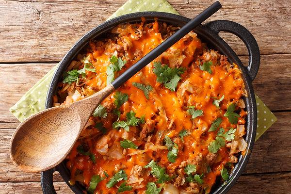 Cabbage casserole with ground beef, onio