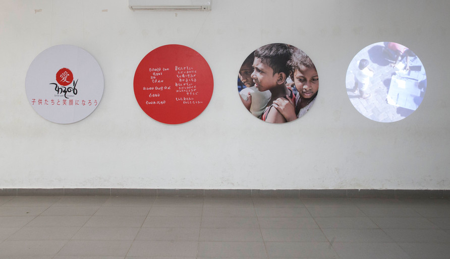 Art works at the entrance of the Photo exhibition