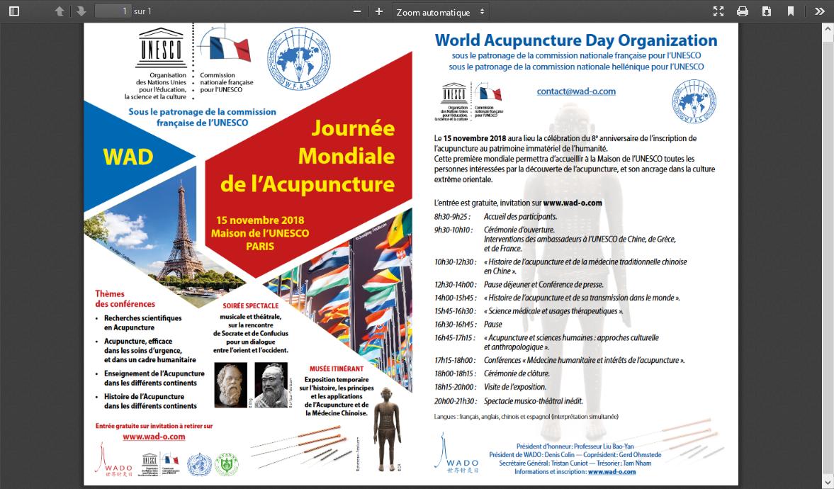 L UNESCO organise la journée mondiale de l'acupuncture à