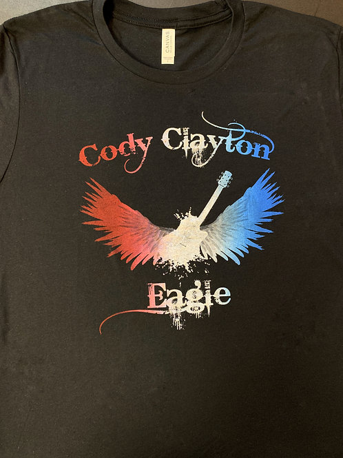 Red, white and blue on black shirt