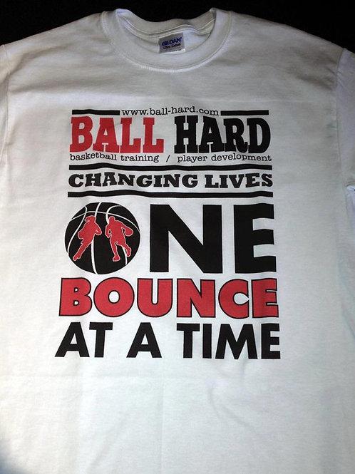 Ball-Hard Drifit Short Sleeve (ONE BOUNCE) White Shirt / Red & Black Writing