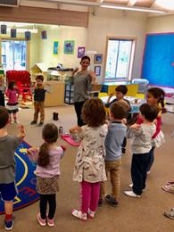 oakview preschool students doing yoga