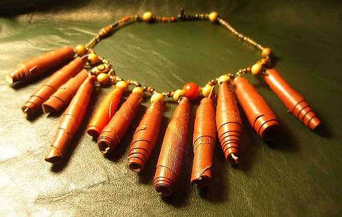 Leather Tubes Necklace with Decorative Coral Bead