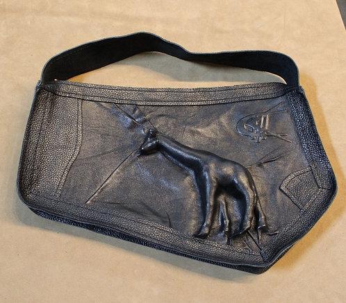 Natural Leather Handbag with Embossed Giraffe
