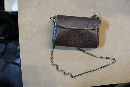 Leather Handbag with Metal Chain