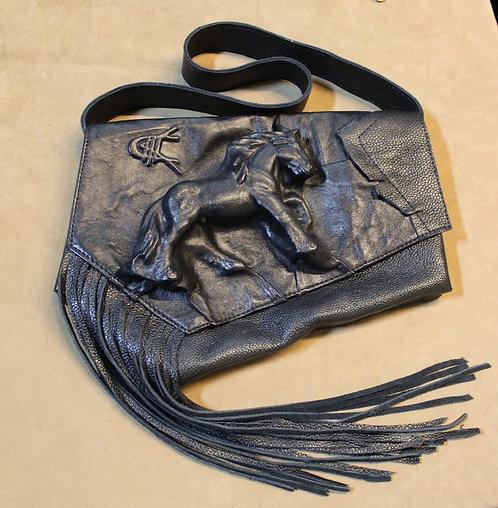 Leather Handbag with Embossed Shire Stallion and Embossed Tanya Kolser Logo