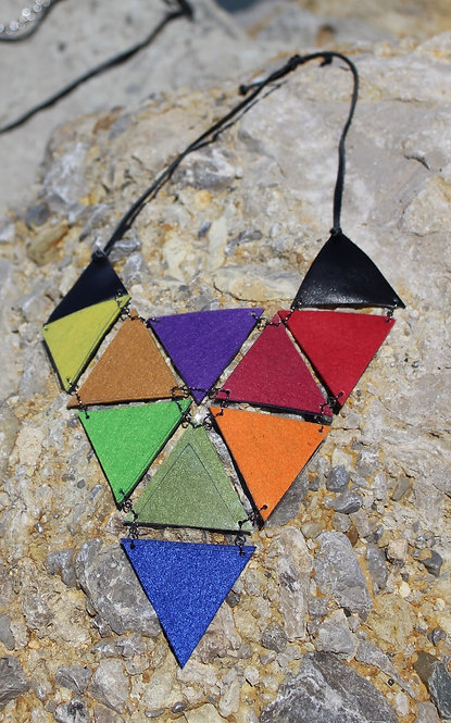 Leather and Felt Necklace