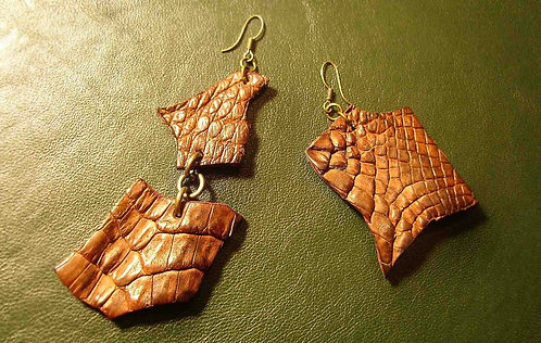 Crocodile Skin Earrings with Gold Hooks