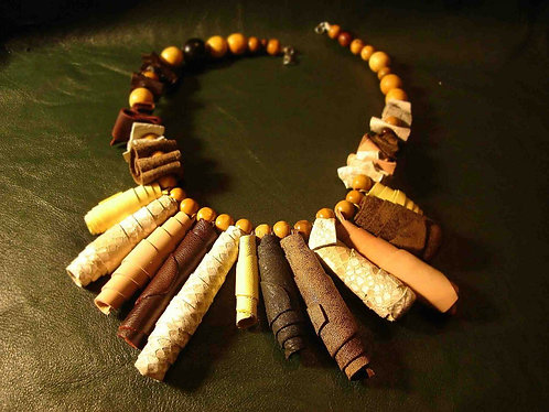 Leather Tubes Necklace with Wood Beads Chain