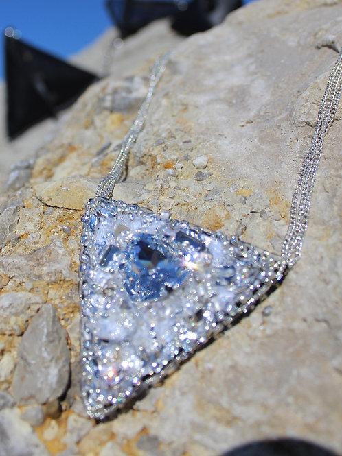 Triangular Handmade Necklace with Swarovski Diamonds
