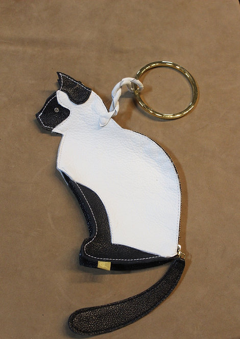 Leather 'Pussycat Clutch' with Golden Ring Handle