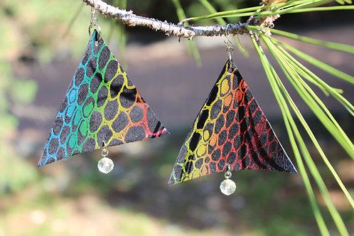 Rainbow Coloured Triangle Earrings with Swarovski Diamonds