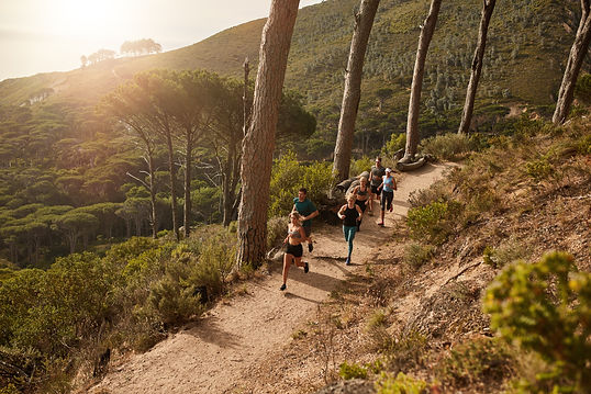 High angle view of running club group training on mountain trails. Group of fit athletes r