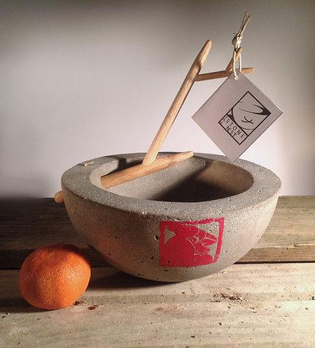 """Brother Cardinal Bowl 8"""" concrete bowl w/removable oak branch"""