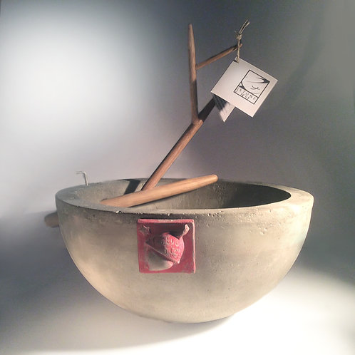 """Buddha Acorn Bowl large 12"""" concrete kitchen bowl w/removable oak branch"""