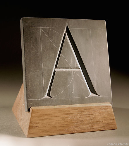 "Trajan letter ""A"" hand chiseled in slate, personalized letter in stone"