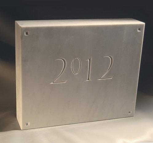 Datestone, personalized numerals in marble