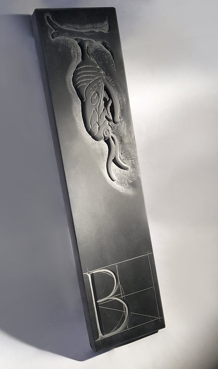 Trajan Letter B hand chiseled slate with butterfly cocoon