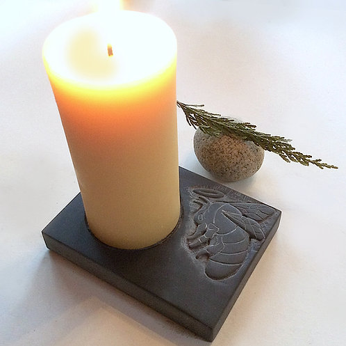 """""""Bee Light-ed"""" hand carved slate stone candle holder"""