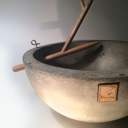 "The Stone Nest 10"" concrete bowl with removable branch"