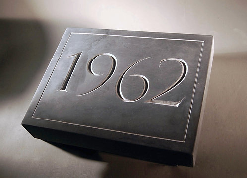Hand Carved Datestone in Slate, personalized numbers in slate