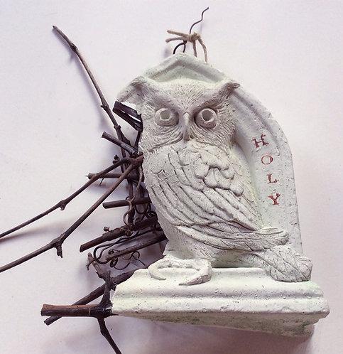"FragMEANTS ""Screech Owl"" concrete wall hanging sculpture"