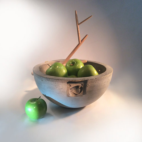 "Buddha Acorn Bowl large 12"" concrete bowl w/removable oak branch"
