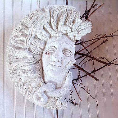 "FragMEANTS ""See"" concrete wall sculpture of face w/grapevine"