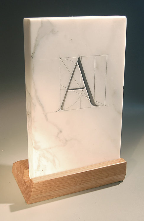 """Trajan Letter """"A"""" hand carved in marble"""
