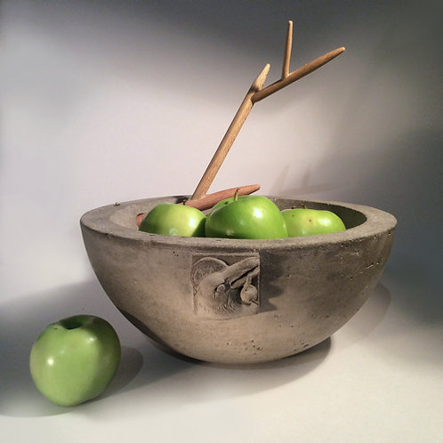 "Brother Crow Bowl large 12"" concrete bowl w/removable branch"