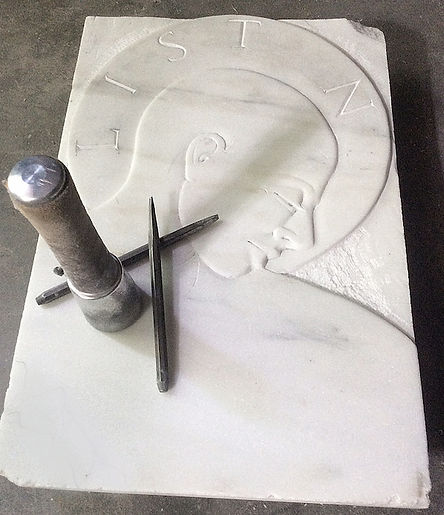 Marble sculpture by stone carver Collene Karcher