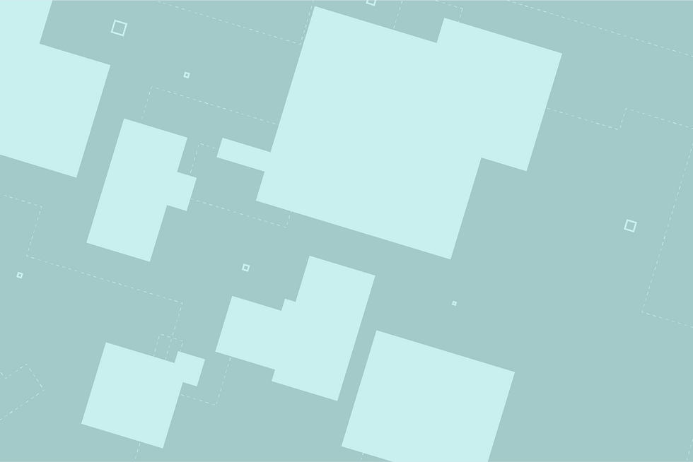 Abstract illustration of modern building floor plan and architectural drawing in mint and white.