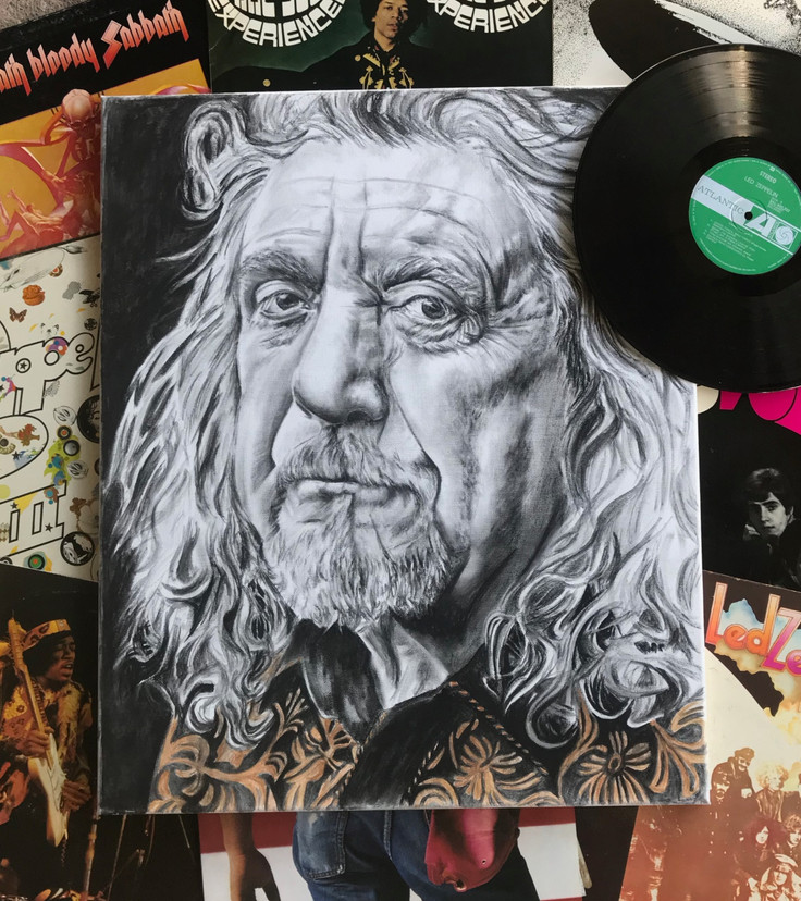 Robert Plant - 50x60cm - charcoal on can