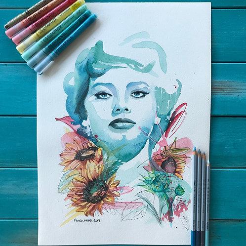 """Sunflower"" - Original Print"
