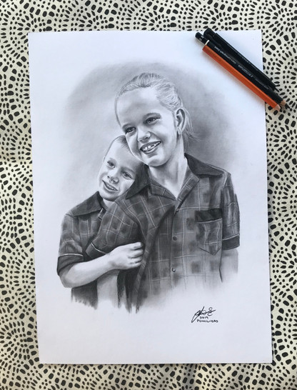 First day of School - A3 - charcoal