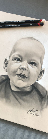 Gorgeous Boy - black + white charcoal on