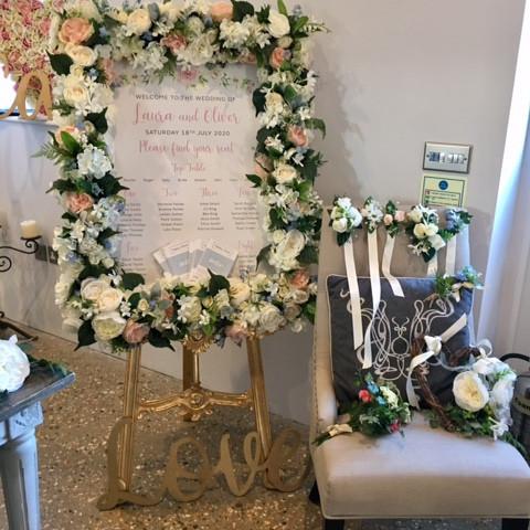Floral frame on regal gold easel
