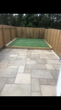 porthcawl new patio and artifical grass