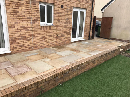 Patios and Steps erected with edging bricks