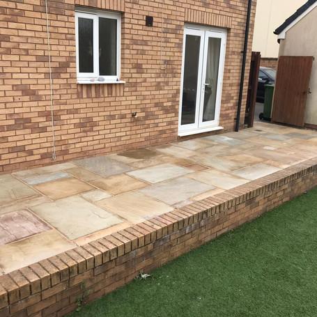 patio and brick border