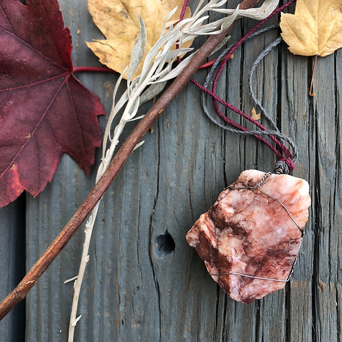 Large Earth Stone (Red, White, with Purple Veins Rose Quartz)