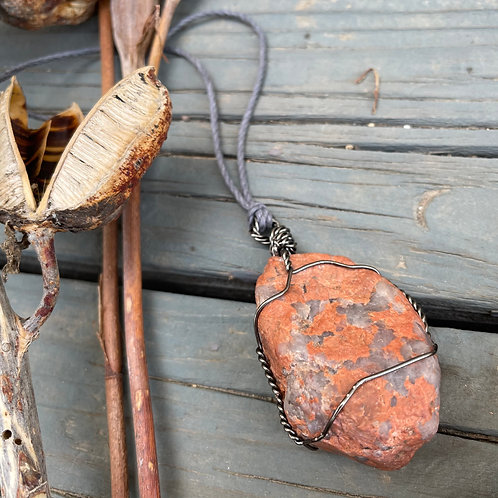 Large Earth Stone (Red/Orange with Spotted Quartz)