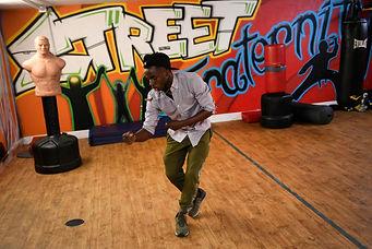 A friend of mine, Ramadhani Kabura dancing at Street Fraternity