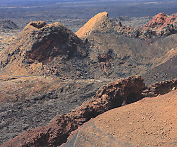 Volcanic conesand craters at Timanfaya National Park Lanzarote in the Canary Islands