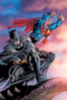Superman flies through the air. With Batman.