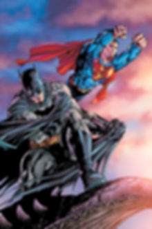 Superman flies through the air. With Batman.